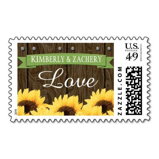 GREEN RUSTIC SUNFLOWER WEDDING LOVE POSTAGE