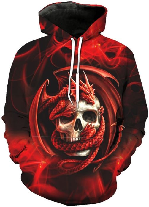 beef4ff8c7a7 DRAGON RED SKULL - 3D STREET WEAR HOODIE Design   Dragon Red Skull Style    Street Wear Collar   Hoodie Sleeve   Long Color   Red Size   S
