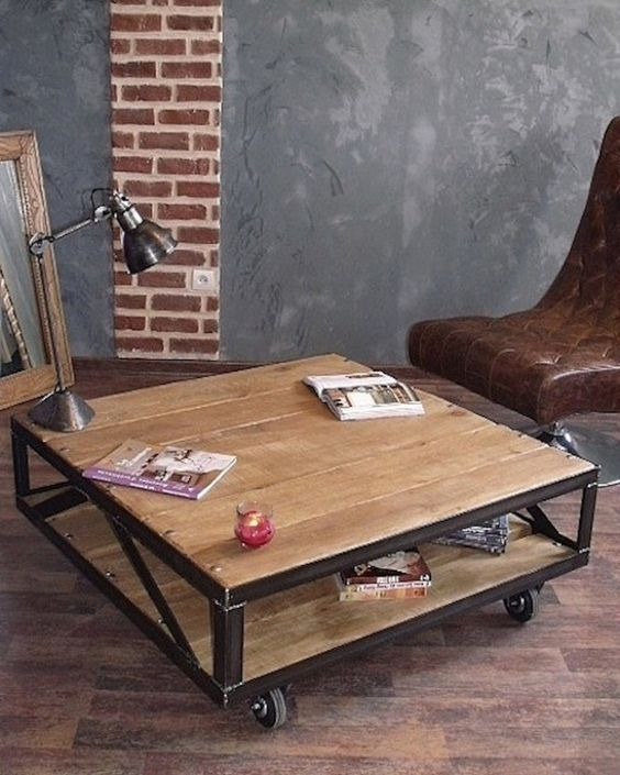 Table basse rachelina table industrielle bois acier - Table basse roulette industrielle ...