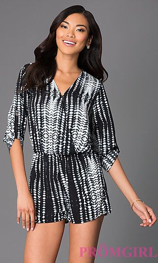 Short Print V-Neck Romper with 3/4 Length Sleeves at PromGirl.com