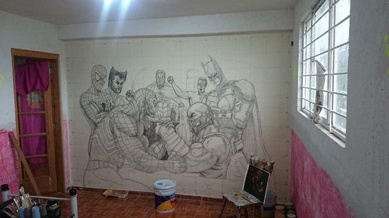 Abocetado a escala del mural.