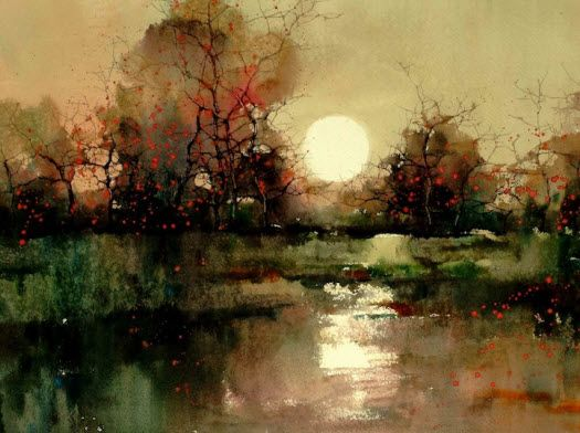 Amazing watercolor art by ZL. Feng // landscape moonlight pond ...