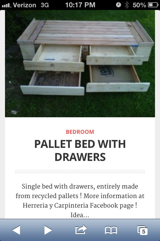 Put two of these together and we have our king size bed for How to make a pallet bed with drawers