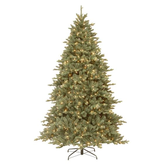 7-1/2 ft. Feel Real Auburn Spruce Blue Hinged Artificial Christmas Tree with 750 Clear Lights, Blues