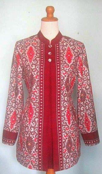 Baju Batik Kombinasi Kain Polos Untuk Kerja