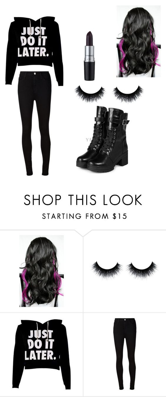 """""""hehehe (CP RP)"""" by livinglikelaney ❤ liked on Polyvore featuring AG Adriano Goldschmied, yeswalker and M.A.C"""