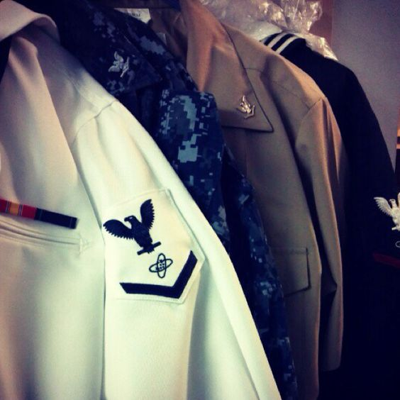 The many looks of a US Navy Sailor:) <3 Can't wait to open the closet in our house and see these.