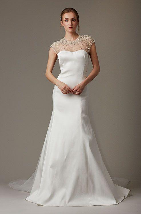 A simple elegant wedding dress with pearl beaded neckline. Lela Rose, Spring 2016