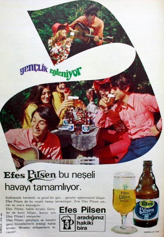 OĞUZ TOPOĞLU : efes pilsen bira 1970 nostaljik eski reklamlar 6