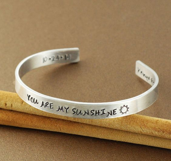 Gold Cuff Bracelet You are my sunshine Personalized by AnnieReh