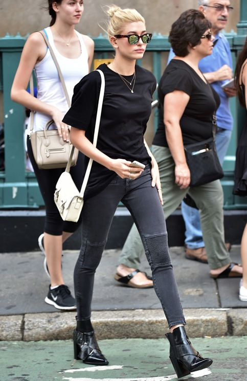 Hailey Baldwin in a monochrome look:
