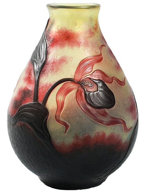 ✨ Daum, Nancy - Lady's Slipper Orchid Cameo Glass Vase, featuring red flowers and vines against a yellow and red martelé ground, circa 1910.: