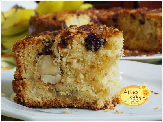 Artes da Sadhia na cozinha : Bolo farofa de bananas com chocolate e castanhas do Brasil