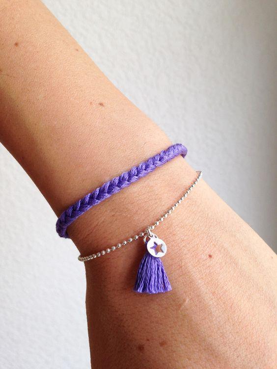 Bracelet d'été tresse colorée, chaine bille et petite étoile argentée, couleur au choix