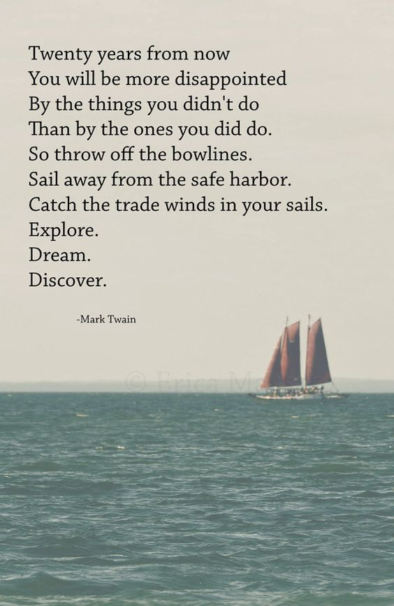 'Explore. Dream. Discover.' | Photography: EDMPrintedEphemera {Etsy} | Inspirational Poetry: Mark  Twain | Sailboat Print: