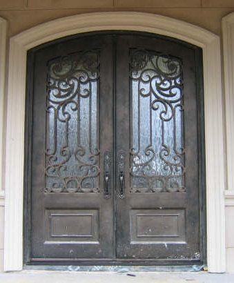 Custom wrought iron double entry door.