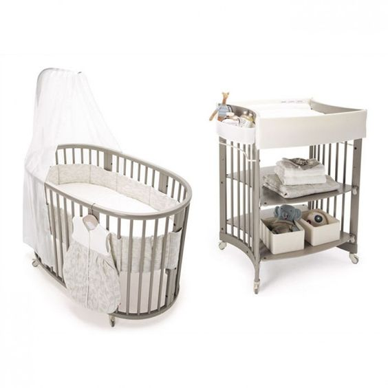 stokke sleepi crib set in gray with mattress 104304. Black Bedroom Furniture Sets. Home Design Ideas