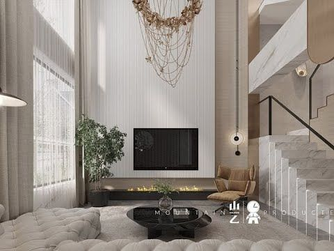 R32 Modern And Magnificent Double Height Rooms Tv Wall Tv Unit Youtube In 2021 High Ceiling Living Room Modern High Ceiling Living Room Double Height Living Room Double height dining room design