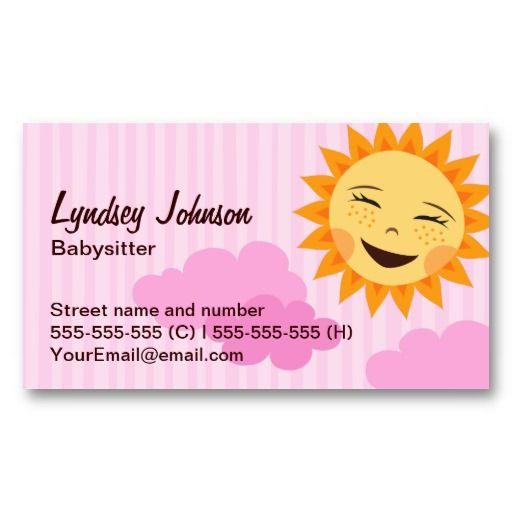 Babysitter business card, pink with cute sun