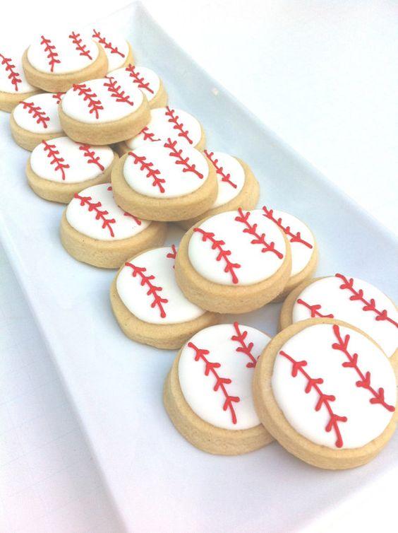 """Home Run Baseball Cookies (2 dozen 2""""). $24.00, via Etsy."""