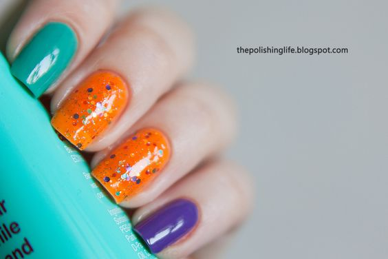 KBShimmer Orange Pop with Barielle Do Unto Others and Grape Escape #glitter #indiepolish #nails #indienailpolish #kbshimmer