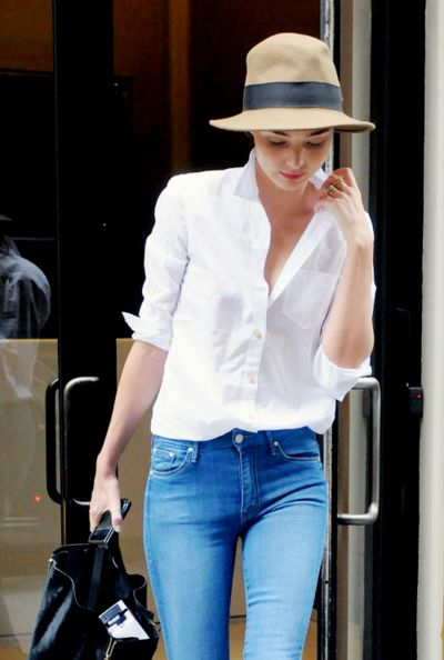 Miranda, popped color, hat, jeans
