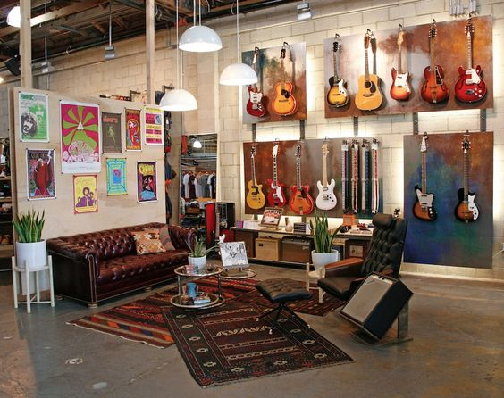 This is really cool. I love the posters on the wall and the comfort of the space.  UO Guitar Shop: Urban Outfitters, Space 15Twenty, Hollywood, CA