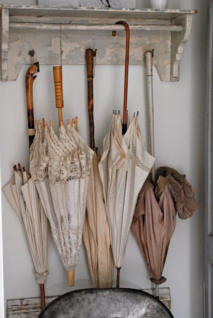 Very nice little collection of old umbrellas that guests can use ...