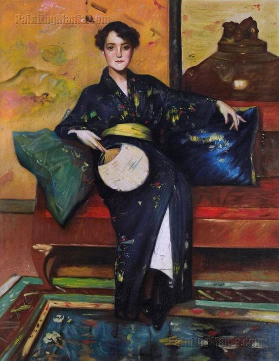 The Blue Kimono Girl in Blue Kimono A Comfortable by paintingmania