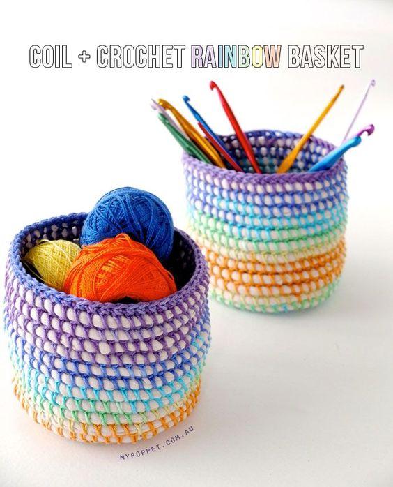 Bobina + Crochet do arco-íris DIY Cesta em MyPoppet.com.au/Makes