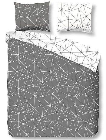 parure de lit imprim graphique gris linge de lit d co pinterest. Black Bedroom Furniture Sets. Home Design Ideas