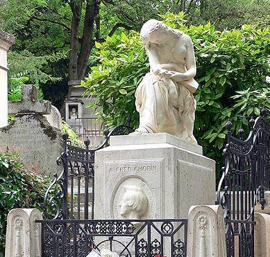 Chopin's gravesite in Paris, France ~ Fredric Chopin (1810-1849) grew up in Warsaw but settled in France in later life. It was in Paris that Chopin died, after a long battle with lung disease. His body was buried in Père Lachaise Cementary, though his heart was removed for burial in his homeland. The muse of music, Euterpe, weeps as she contemplates a broken lyre.