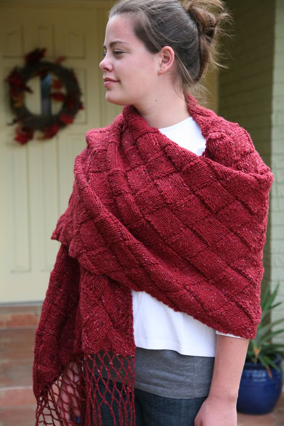 3 B Street - Hand Knit Ruby Red Entrelac Shawl by Queen Bee Knits