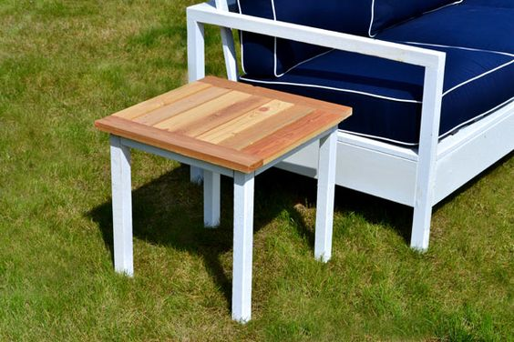 Simple White Outdoor End Table