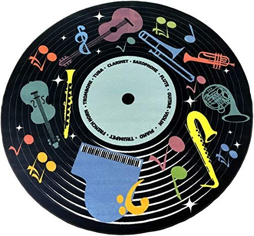 Buy Kid Carpet Fe826 71a Musical Instruments Classroom Carpet 12 Round Area Rug Multi Online Newtopgoods Vinyl Record Art Record Art Classroom Carpets