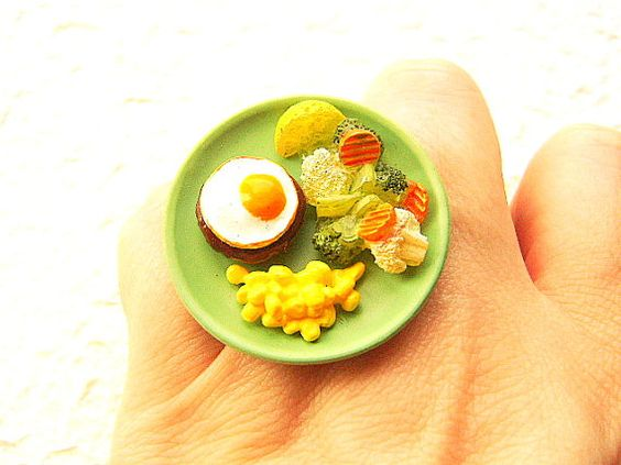 Miniature Food Ring Vegetables Hamburger Egg by SouZouCreations, $10.00
