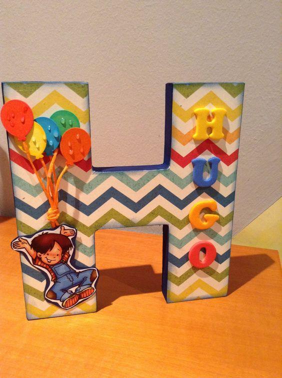 H Decorado com Menininho com Balões e Nominho