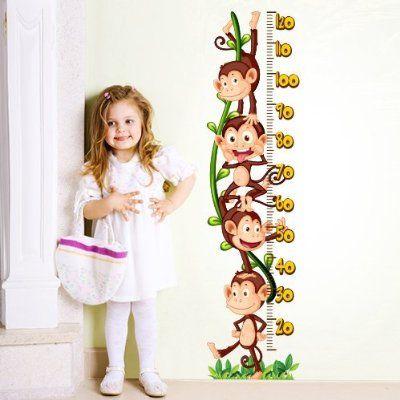 """Adesivo murale per bambini Wall Art """"Metro delle scimmiette"""" - Misure 120x30 cm - Decorazione parete, adesivi per muro, carta da parati"""