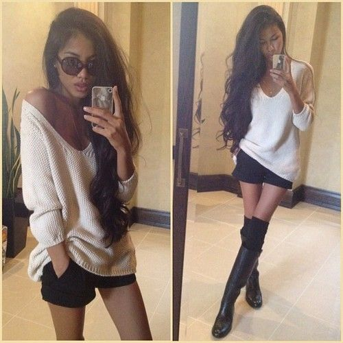 Over sized sweater with shorts , knee socks & flat boots   Style ...