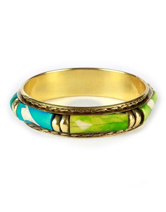 Blue & Green Panel Gold Chunky Tribal Bangle  #ChiaraFashion