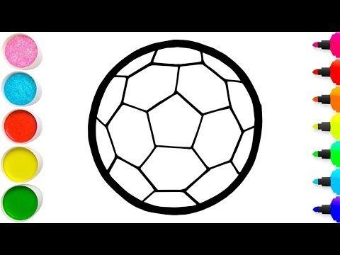 Menggambar Dan Mewarnai Sepak Bola Dengan Guas Untuk Anak Glitter Soccer Drawing And Coloring Yout Coloring For Kids Soccer Drawing Coloring Pages For Kids