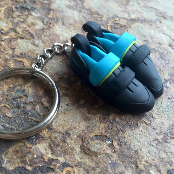 A personal favorite from my Etsy shop https://www.etsy.com/listing/257085896/rock-climbing-shoe-keychain-custom-and
