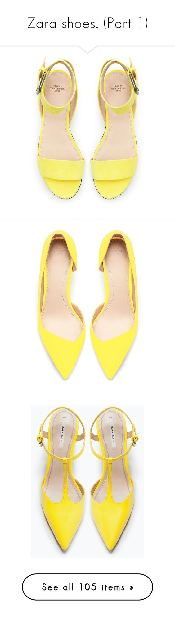 """""""Zara shoes! (Part 1)"""" by blueladybird ❤ liked on Polyvore featuring shoes, sandals, heels, flats, yellow, heeled flats, yellow sandals, heeled sandals, flat shoes and zara shoes"""