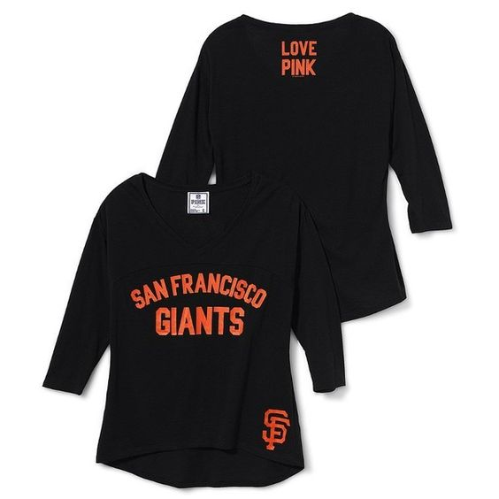 Victoria's Secret San Francisco Giants Long-Sleeve Drapey Tee ($25) found on Polyvore