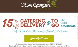 Olive Garden 15 Off Catering And Togo Coupon Code On