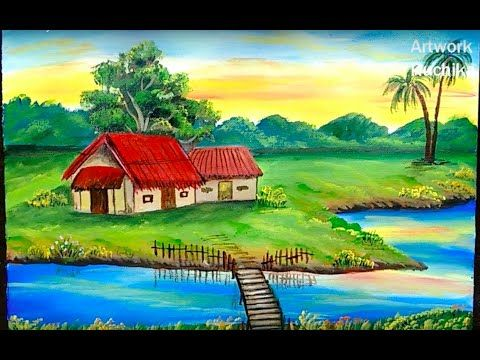 Village Scenery Painting Easy Landscape Painting Acrylic Painting Tutorial Youtube