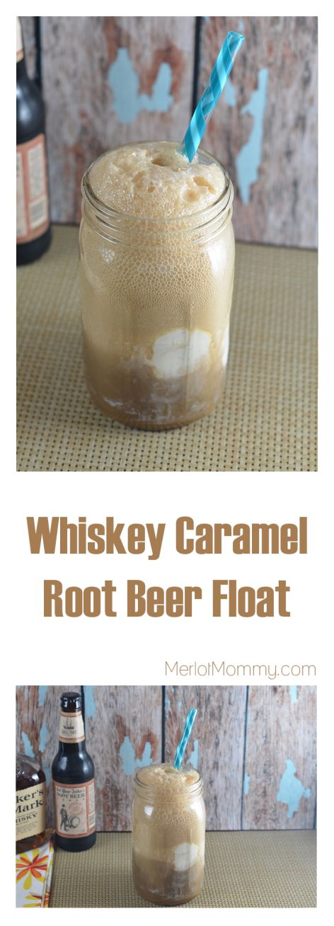 Whiskey Caramel Root Beer Float with vanilla bean ice cream