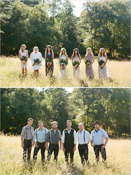 Mismatched bridal party | Boho indie wedding party @weddingchicks