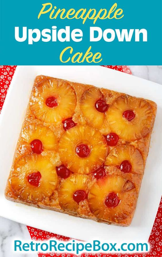 Pineapple Upside Down Cake is a classic retro cake recipe. Sweet pineapple rings in a buttery brown sugar topping, baked with a delicious cake. An easy dessert recipe by retrorecipebox.com #cake #easydessert #pineapple