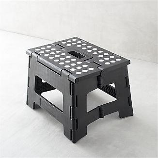 Folding Black Step Stool Ii I Crate And Barrel Home